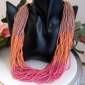 Vtg Torsade necklace seed beads Pink peach lilac